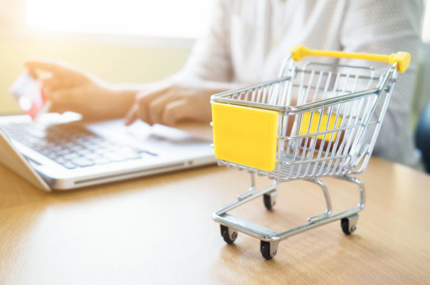 Business theme internet online shopping and delivery concept. Blur background of woman use computer laptop to shopping online